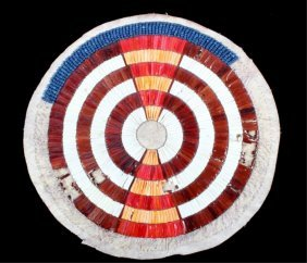 Sioux Quill Work & Beaded Blanket Medallion C 1890