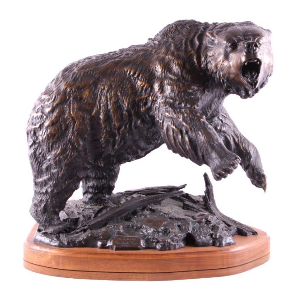 Original Burl Jones Grizzly Bear Bronze Sculpture