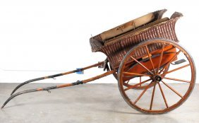 Antique Wicker Horse Drawn Cart Buggy