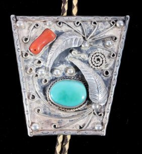 Navajo Large Old Pawn Silver Bolo Tie Turquoise