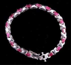 Sterling Silver And Natural Ruby Link Bracelet