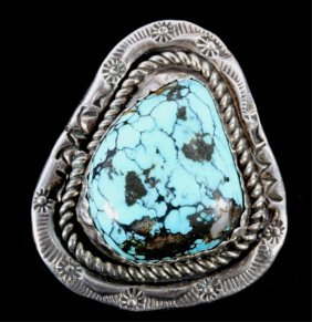Navajo Large Turquoise Nugget Ring By L. Jake