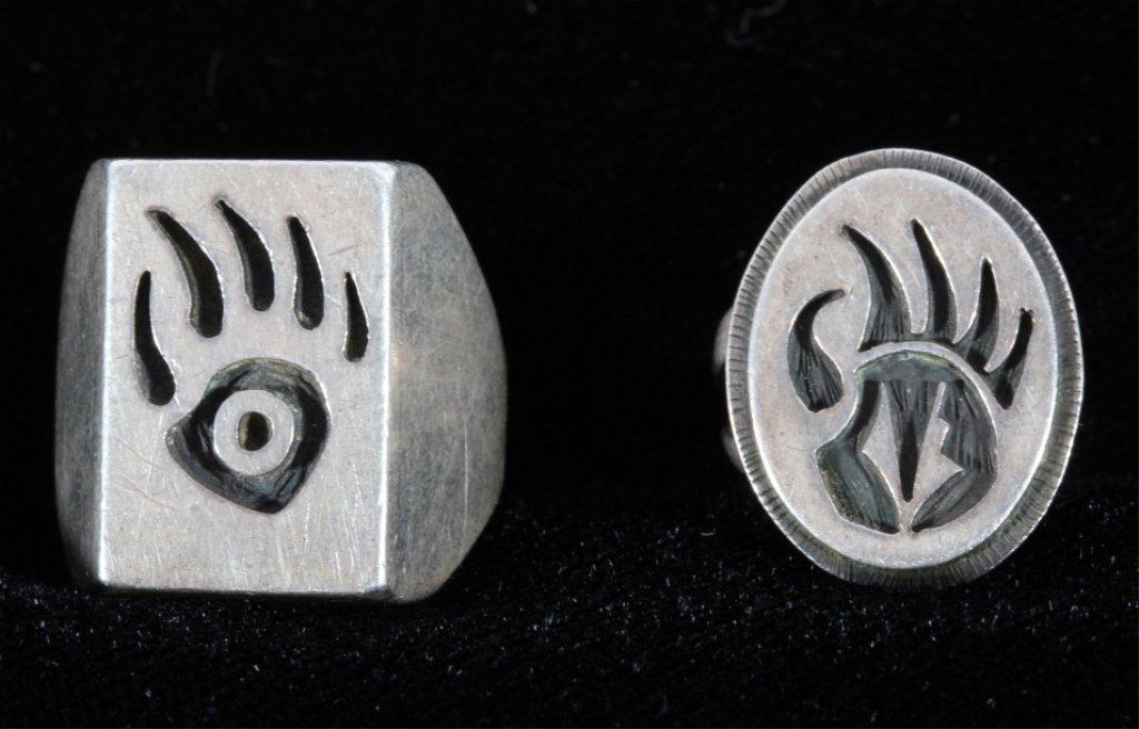 Hopi Bear Claw Silver Rings by Phil Sekaquaptewa