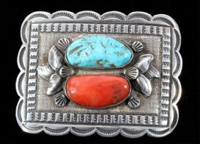 Navajo Turquoise & Coral Sterling Silver Buckle
