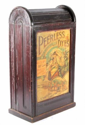 Peerless Dyes Cabinet W/ Tin Front Extremely Rare