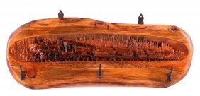 Carved Wooden Train Coat Rack
