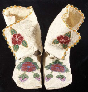 Crow Beaded High Top Moccasins Early 1900