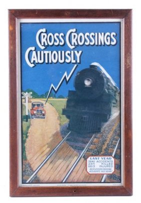 Railroad Crossing Advertisement Circa 1938 Rare