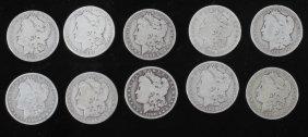 1884-1902 Morgan Silver Dollars Consecutive (10)