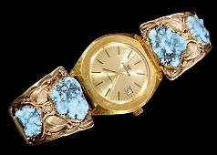 Navajo 14K Gold Turquoise Band  Waltham Watch