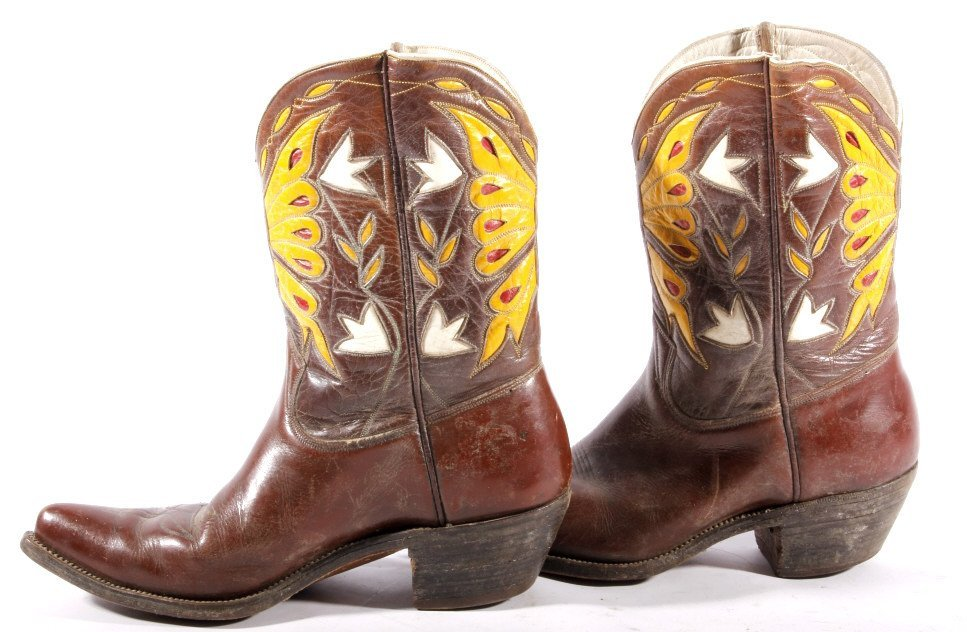Early Custom Cowgirl Butterfly Leather Boots