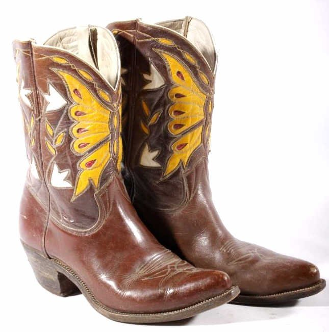 Early Custom Cowgirl Butterfly Leather Boots - 2