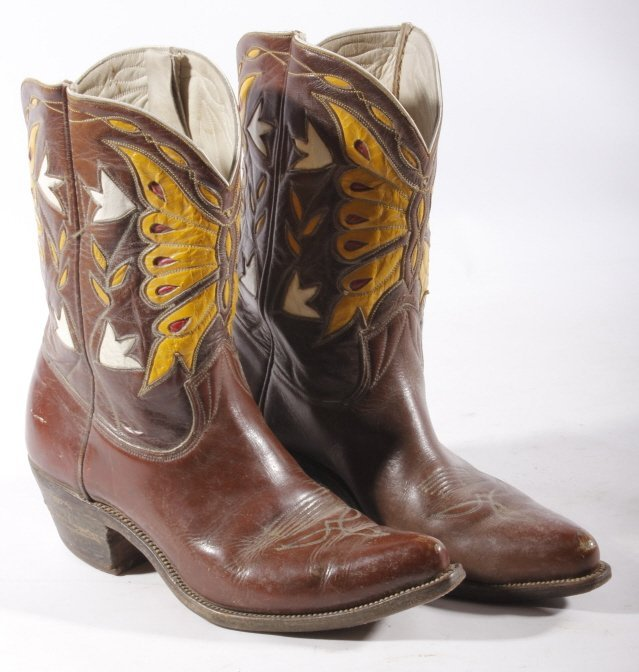 Early Custom Cowgirl Butterfly Leather Boots - 3