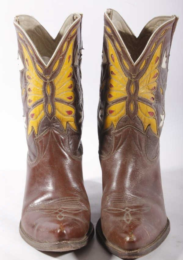 Early Custom Cowgirl Butterfly Leather Boots - 4
