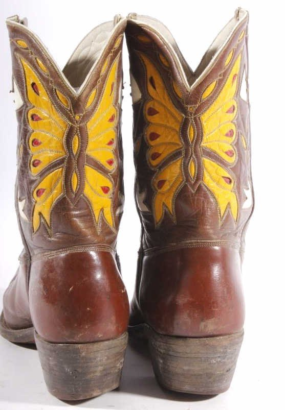 Early Custom Cowgirl Butterfly Leather Boots - 5
