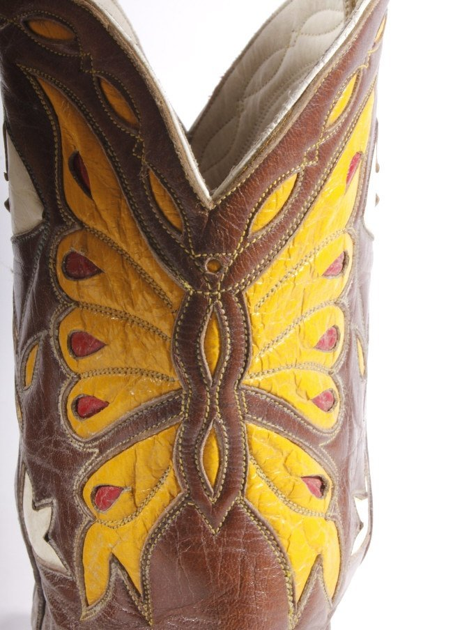 Early Custom Cowgirl Butterfly Leather Boots - 6