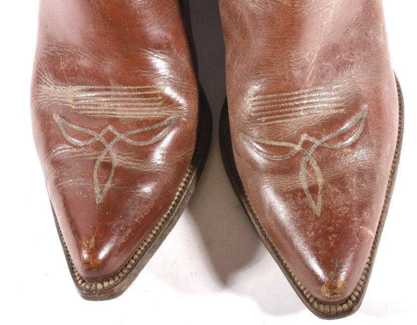 Early Custom Cowgirl Butterfly Leather Boots - 8