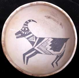 Mimbres Pottery Bowl with Mountain Goat 950 A.D.