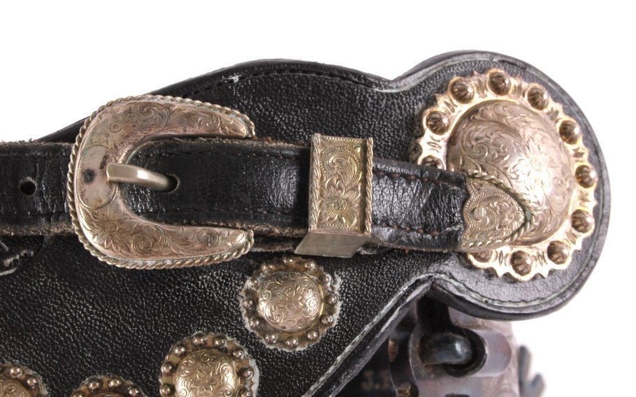"Fleming Silver Mounted Spurs Custom Marked ""JFK"" - 10"