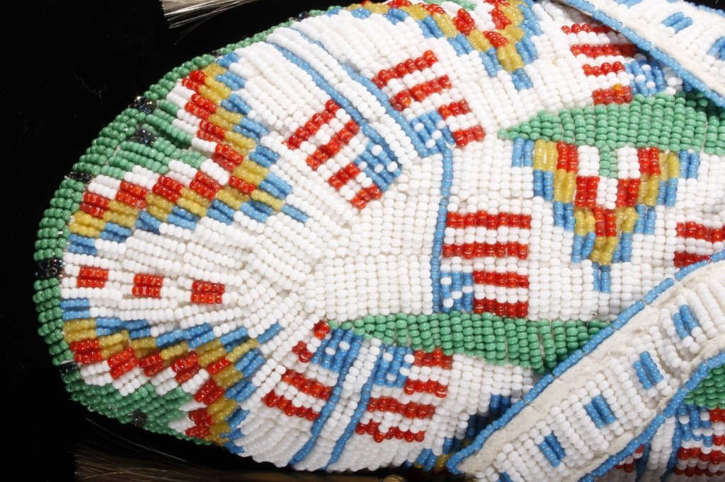 Oglala Sioux Fully Beaded Moccasins American Flag - 4