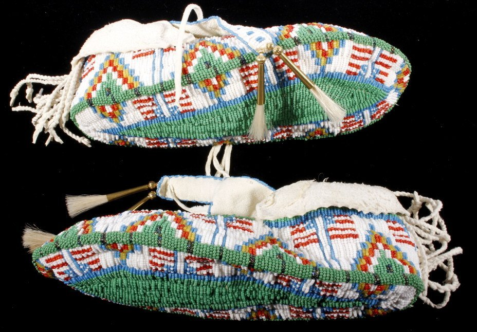 Oglala Sioux Fully Beaded Moccasins American Flag - 5