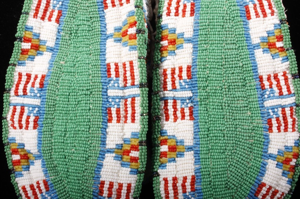 Oglala Sioux Fully Beaded Moccasins American Flag - 7