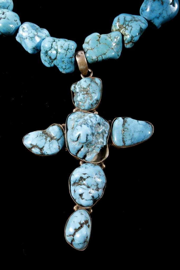 Navajo Turquoise Nugget Cross Necklace - 3