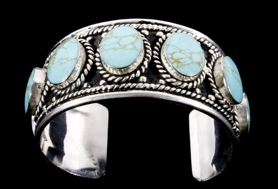 Taxco Sterling Silver & Turquoise Bracelet