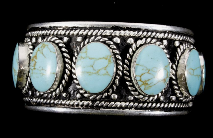 Taxco Sterling Silver & Turquoise Bracelet - 2