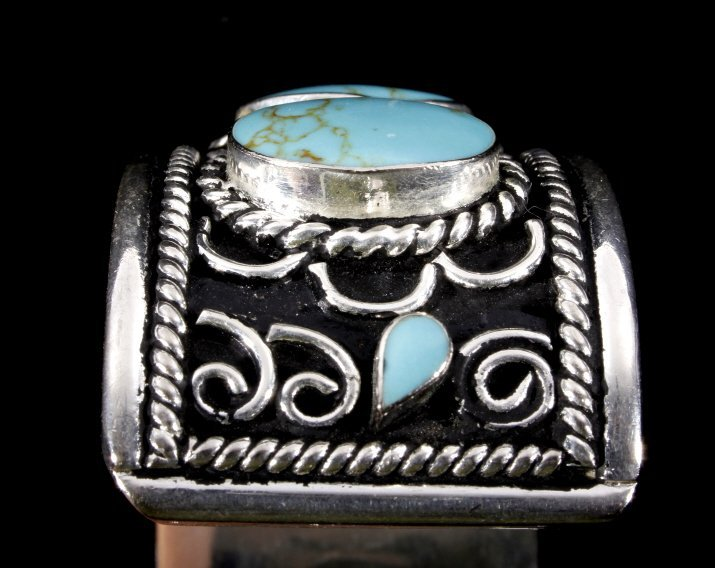 Taxco Sterling Silver & Turquoise Bracelet - 3