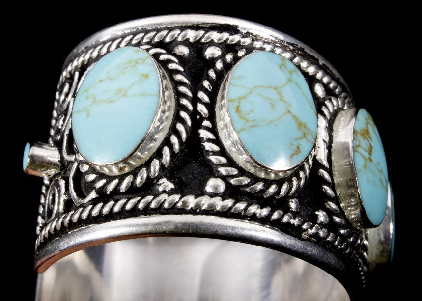 Taxco Sterling Silver & Turquoise Bracelet - 6