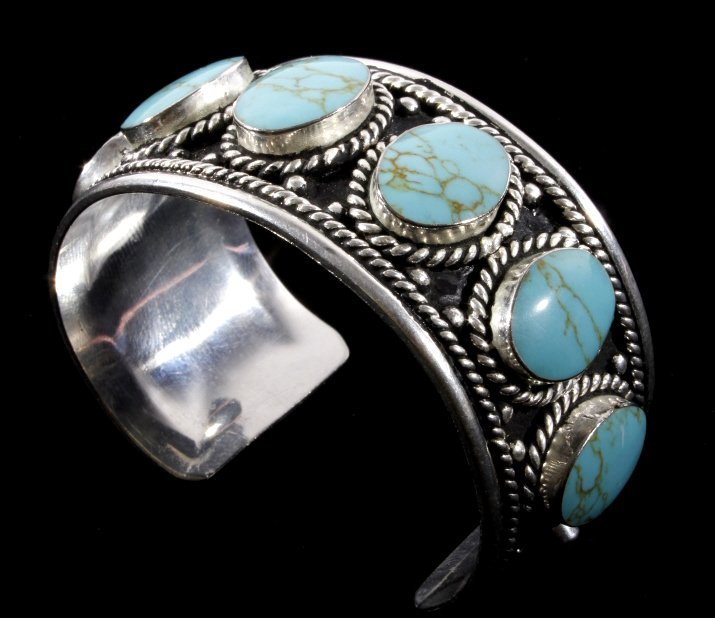 Taxco Sterling Silver & Turquoise Bracelet - 7