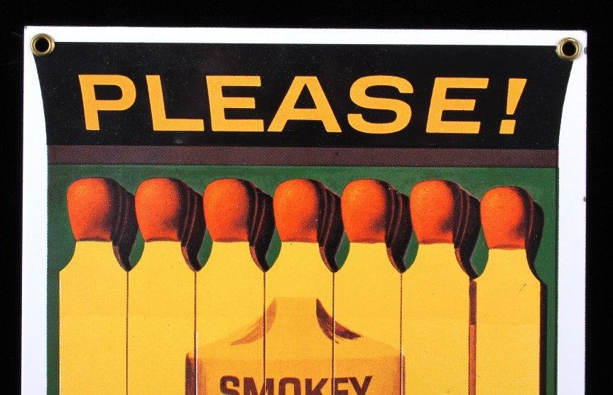 Smokey Bear U.S. Forest Service Porcelain Sign - 2