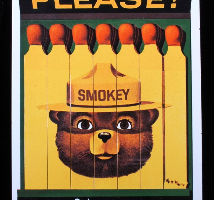 Smokey Bear U.S. Forest Service Porcelain Sign - 3