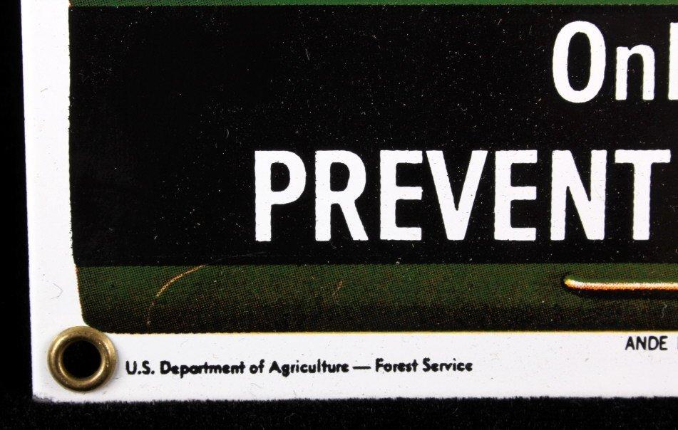 Smokey Bear U.S. Forest Service Porcelain Sign - 5