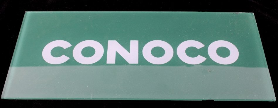 Pair Of Conoco Glass Gas Pump Inserts - 2