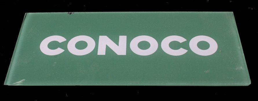 Pair Of Conoco Glass Gas Pump Inserts - 6