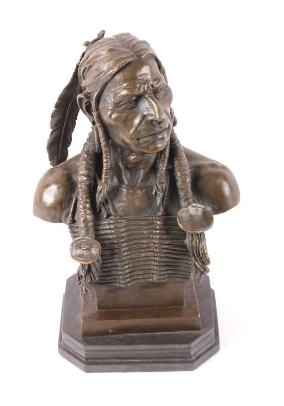 Cast Bronze Native American Head Statue