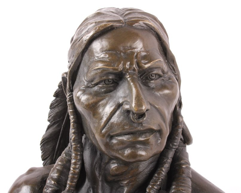 Cast Bronze Native American Head Statue - 2