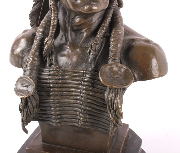 Cast Bronze Native American Head Statue - 3