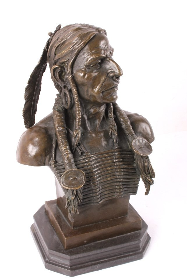 Cast Bronze Native American Head Statue - 5