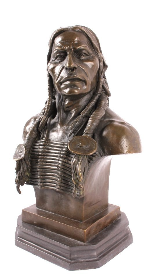 Cast Bronze Native American Head Statue - 6