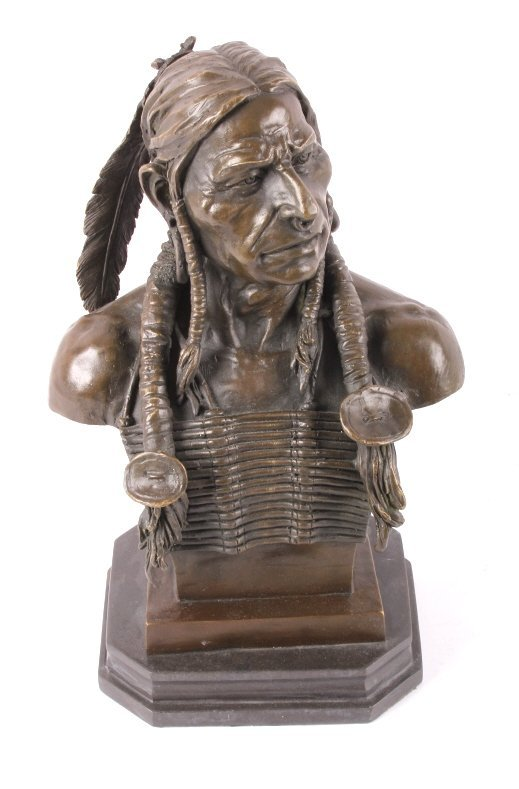 Cast Bronze Native American Head Statue - 9
