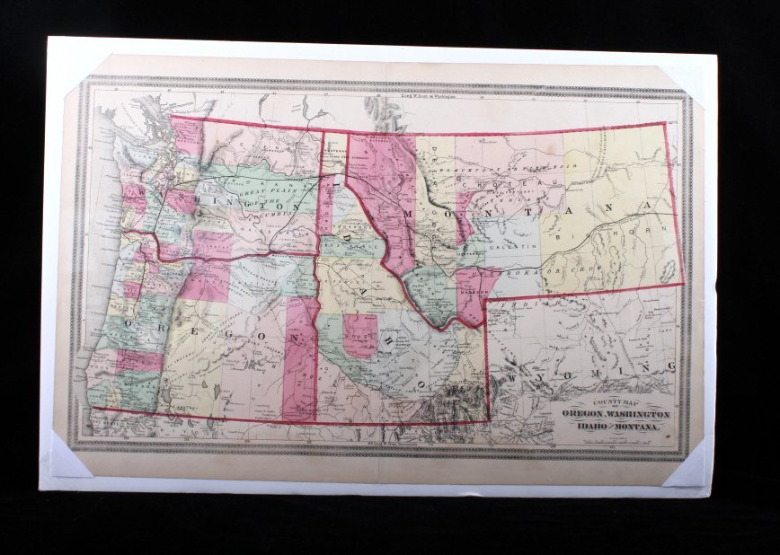 Hand Painted Map Of The North Western U. S.