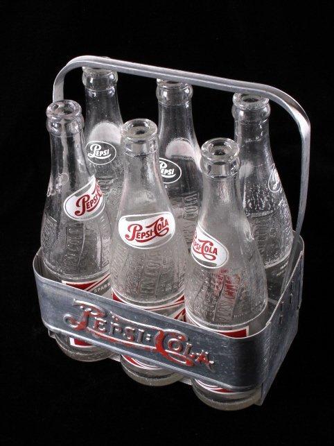 Vintage Metal Pepsi-Cola Six Pack With Bottles