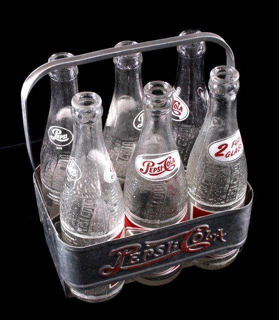Vintage Metal Pepsi-Cola Six Pack With Bottles - 2