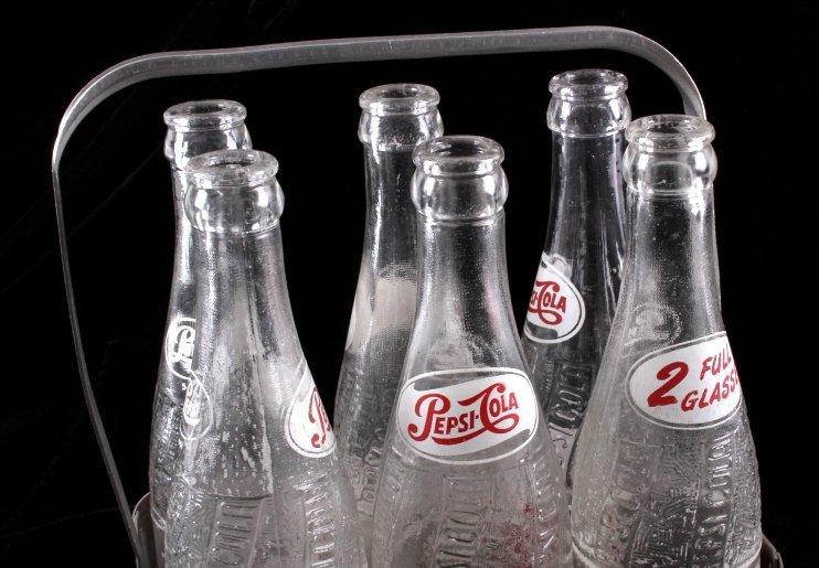 Vintage Metal Pepsi-Cola Six Pack With Bottles - 4