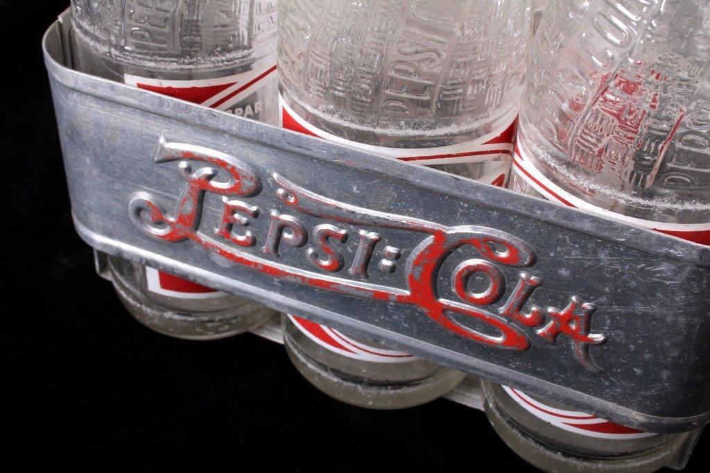 Vintage Metal Pepsi-Cola Six Pack With Bottles - 5