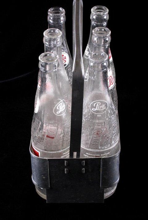Vintage Metal Pepsi-Cola Six Pack With Bottles - 7