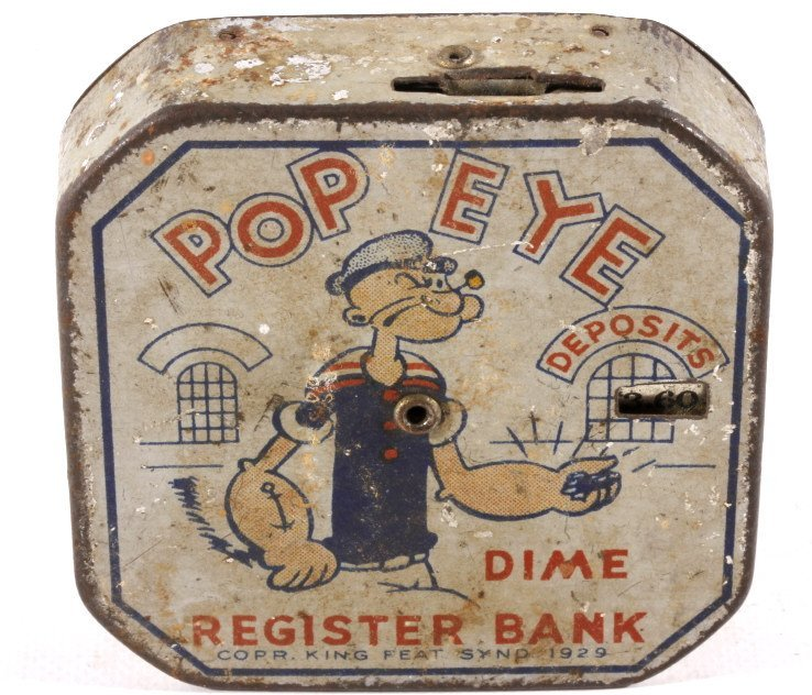 Antique Popeye Dime Register Bank